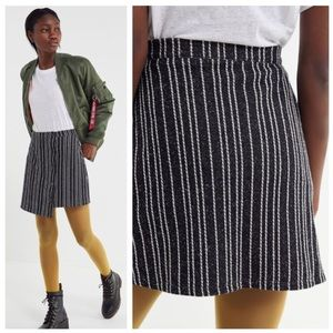 Urban Outfitters Black White Striped Button Skirt